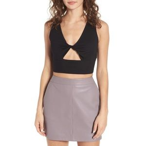 J.O.A. Twist Front Black Crop Top